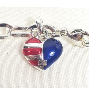 NIB Tommy Hilfiger Bracelet Silver with American ❤